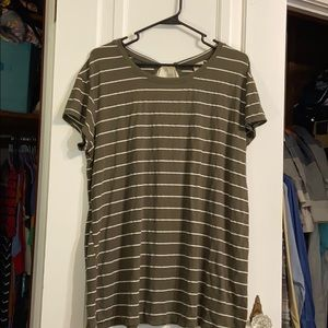 Army green and cream striped top with keyhole